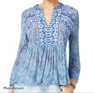 Lucky brand embroidered split neck top NWT sz L